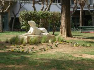 Το άγαλμα του σκύλου στο παρτέρι του πεζόδρομου στη Φωκίωνος Νέγρη