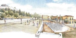 Το σχέδιο της Διονυσίου Αρεοπαγίτου όπως προέβλεπε την ανοικτή ανασκαφή της οικίας Πρόκλου.